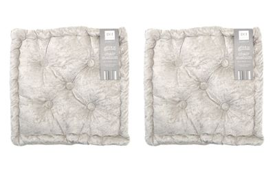 Country Club Velvet Seat Pad, Dusky Silver, Set of 2
