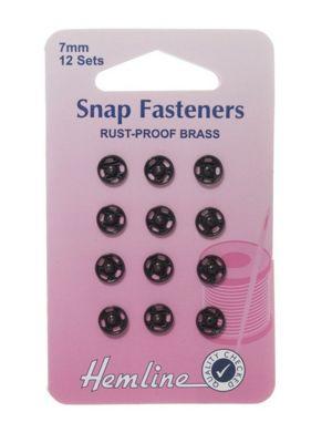 Hemline 7mm Black Sew On Rust Proof Press Snap Fasteners (12 Sets)
