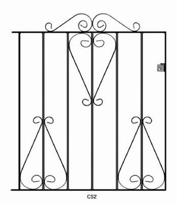 Wrought Iron Style Metal Scroll Garden Gate 84cm GAP x 91cm High