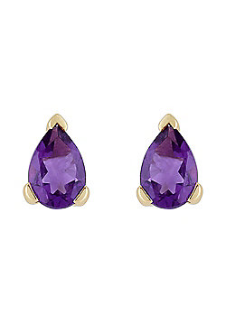 Gemondo 9ct Yellow Gold 0.65ct Pear Cut Amethyst Single Stone Stud Earrings