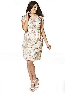 Mamalicious Floral Lace Maternity Dress - Cream