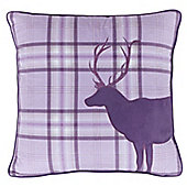 Catherine Lansfield Heather Tartan Stag Cushion Cover - 43x43cm