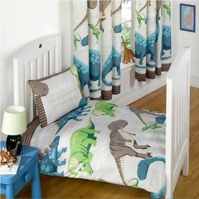 Dinosaur Facts Cream Toddler Bedding With Matching Curtains 54s
