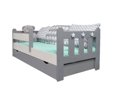 Stanley Toddler/Junior Bed Grey&White Andpocket Sprung Mattress With Drawer Grey