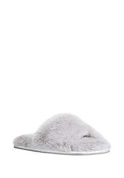 F&F Faux Fur Slide Slippers - Grey