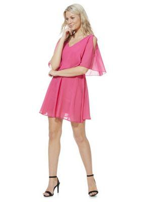 Mela London Cold Shoulder Overlay Dress Pink 8