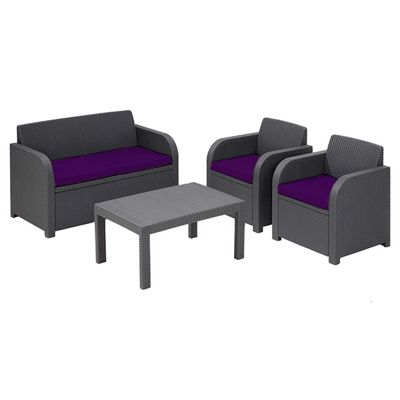 Gardenista Replacement Seat Pad Set for Keter Allibert Carolina Patio Set - Purple