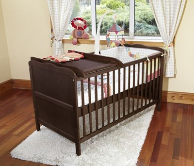 Isabella Cot Bed/Junior Bed/Pocket Sprung Mattress & Cot Top Changer-Walnut