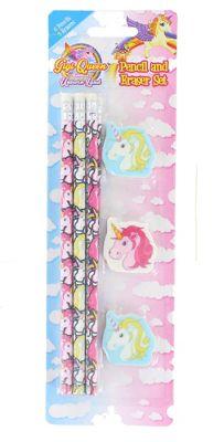 Children's Stationery 9 Piece Unicorn Pencil & Rubber Eraser Set