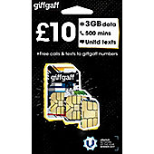 giffgaff Tri-SIM - £10 goodybag - 3GB data, 500 mins, Unltd texts