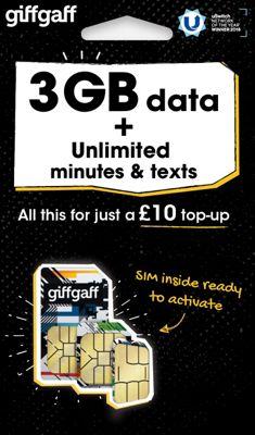 giffgaff Tri-SIM - £10 goodybag - 3GB data, Unltd mins, Unltd texts