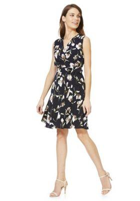 Mela London Floral Sleeveless Wrap Dress Blue/Multi 8