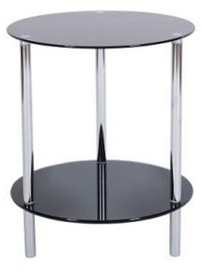 LEVV Sierra 2 Tier Piano Black Glass Lamp Table