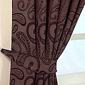 Homescapes Purple Jacquard Tie Back Pair Traditional Paisley Design
