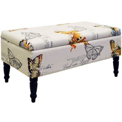 Buy Butterfly Storage Ottoman Stool Black Cream Multi from