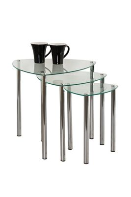 Arena Set Of 3 Glass Nesting Tables - Clear