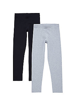 F&F 2 Pack of Leggings - Black & Grey