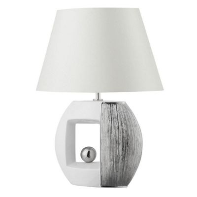 White/Silver Stripe Effect Oval Table Lamp Faux Silk Tapered Shade