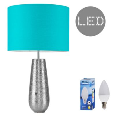 Hastings 65cm Touch Dimmer LED Table Lamp - Silver & Teal