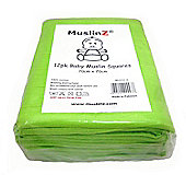 Muslinz Premium High Quality Baby Muslin Squares (Green, Pack of 12)