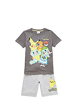 Pokemon Character Print Pyjamas - Grey
