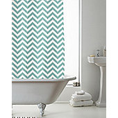 Modern Makeover Chevron Shower Curtain, Aqua