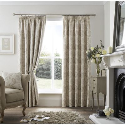 Curtina Ashford Natural Pencil Pleat Curtains - 46x54 Inches (117x137cm)