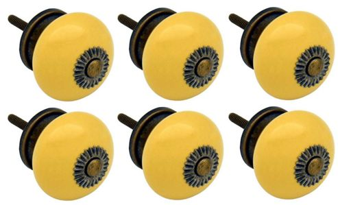 Ceramic Cupboard Drawer Knobs - Yellow - Pack Of 6
