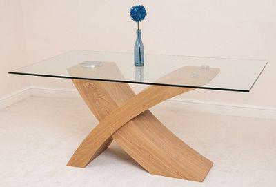 Superior Valencia Glass U0026 Oak 160 Cm Dining Table