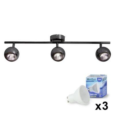 Retro Eyeball 3 Way LED Ceiling Spotlight, Black Chrome & Daylight GU10 Bulbs