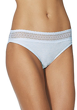 F&F Long Line Lace Trim Briefs - Blue