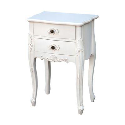 Antique White 2-Drawer Bedside Cabinet Width: 51cm