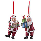Pair of Father Christmas Figurine Hanging Tree Decorations