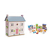 Le Toy Van Bay Tree House Dolls House and Starter Furniture Bundle
