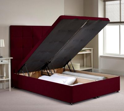 Appian Ottoman Divan Bed Frame - Aubergine Chenille Fabric - Small Single 2ft 6