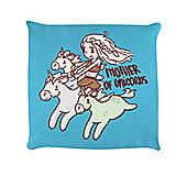 Mother Of Unicorns - Flying 40x40cm Sky Blue Cushion