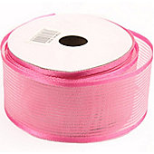 Ribbon Organza Stripe Sheer Ribbon - Pale Pink - 25m