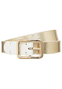 F&F Metallic Faux Leather Reversible Belt - White