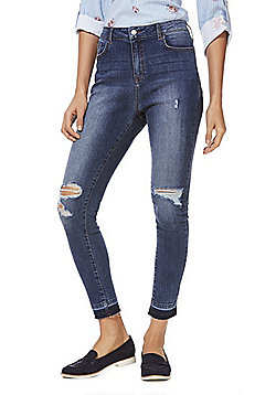 F&F Ripped Let-Down Hem Skinny Jeans - Blue