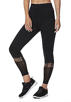 F&F Active Foil Stripe Mesh Panel Leggings - Black