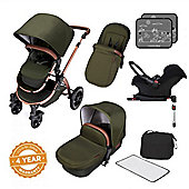 Ickle Bubba Stomp V4 Isofix Travel System plus 2nd Stage Group 1,2,3 Car Seat - Woodland Bronze