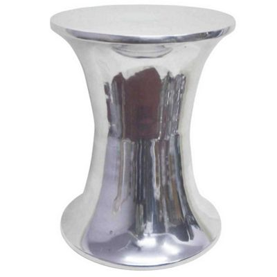 Homescapes Elegant Designer Solid Metal Silver Footstool, HOURGLASS 32 cm Diameter