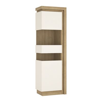 Lyon Tall narrow display cabinet (LHD) (including LED lighting) in Riviera Oak/White high gloss