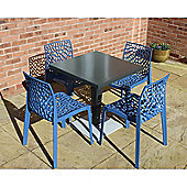 Brackenstyle Madrid Pedestal Table and 4 Avio Blue Neptune Chairs - Seats 4