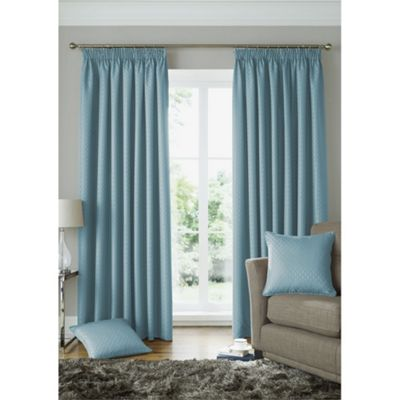 Alan Symonds Lined Solitaire Duck Egg Pencil Pleat Curtains - 90x54 Inches (229x137cm)