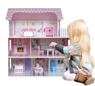 Kiddi Style Large Victorian Wooden Doll House With Furniture