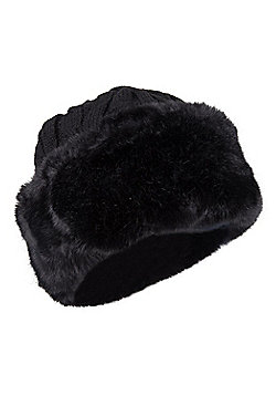 Mountain Warehouse Womens Winter Hats with Faux Fur and Fleece Lined for Warmth - Black