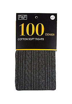 F&F Cable Knit 100 Denier Tights - Charcoal grey