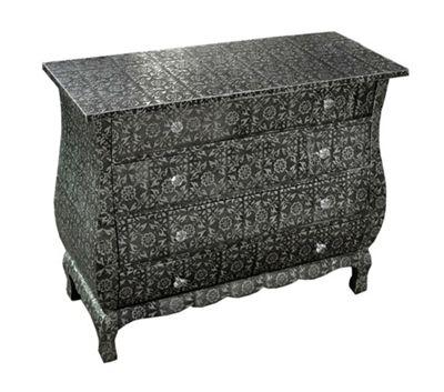 Chaandhi Kar Black-Silver Embossed 4-Drawer Chest of Drawers Width: 85cm