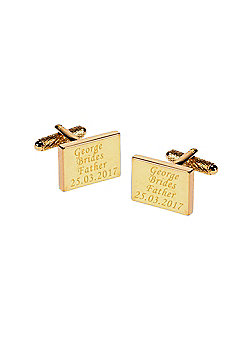Personalised Brides Father Gold Plated Rectangle Wedding Cufflinks